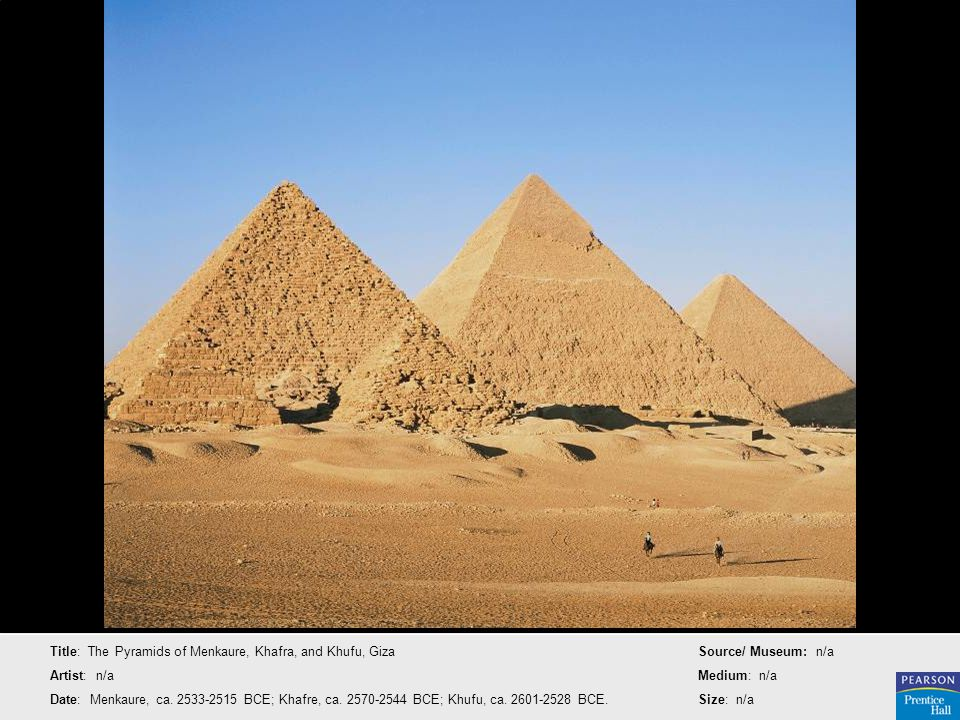 Title: The Pyramids of Menkaure, Khafra, and Khufu, Giza
