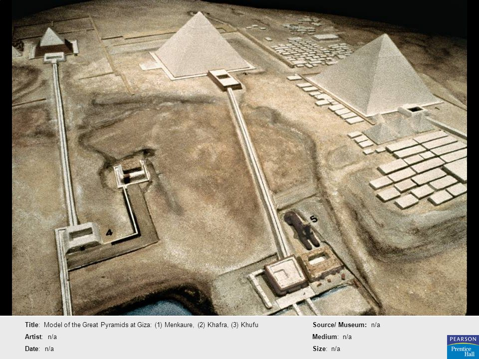Title: Model of the Great Pyramids at Giza: (1) Menkaure, (2) Khafra, (3) Khufu