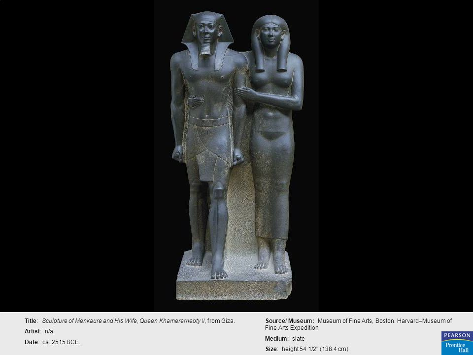 Title: Sculpture of Menkaure and His Wife, Queen Khamerernebty II, from Giza.