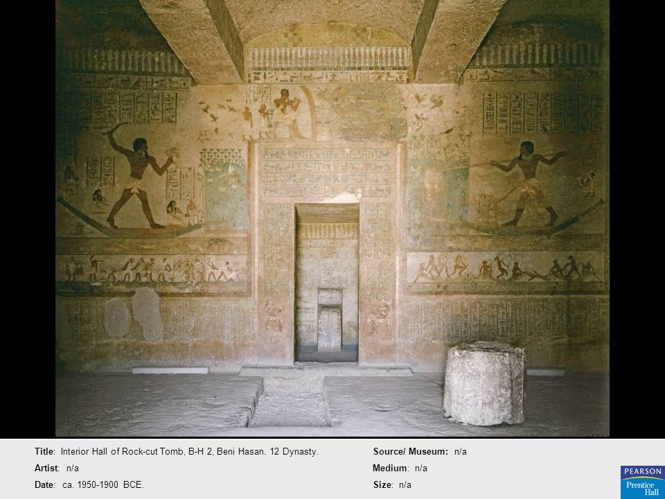 Title: Interior Hall of Rock-cut Tomb, B-H 2, Beni Hasan. 12 Dynasty.