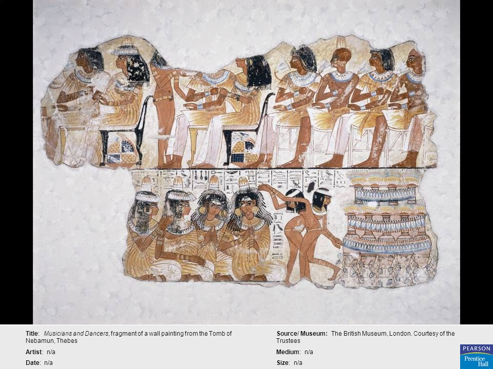 Title: Musicians and Dancers, fragment of a wall painting from the Tomb of Nebamun, Thebes