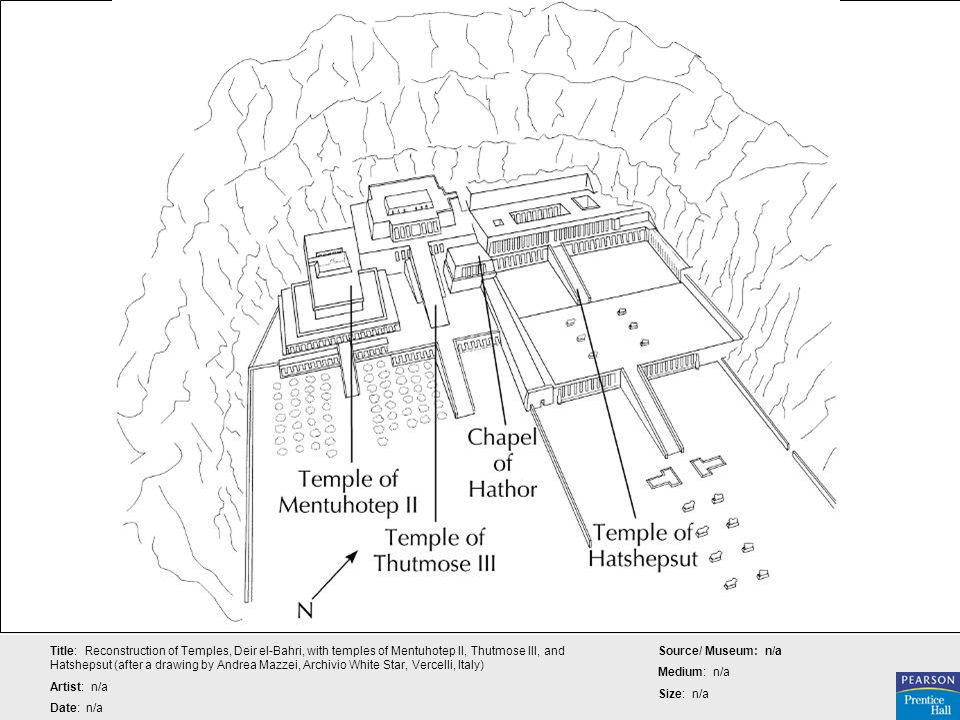 Title: Reconstruction of Temples, Deir el-Bahri, with temples of Mentuhotep II, Thutmose III, and Hatshepsut (after a drawing by Andrea Mazzei, Archivio White Star, Vercelli, Italy)