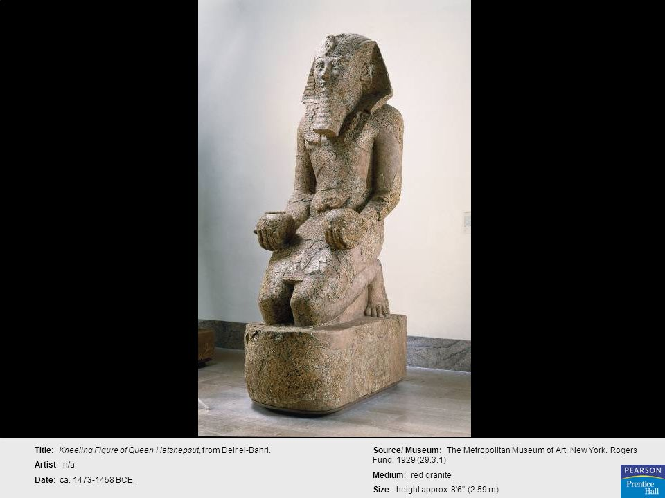 Title: Kneeling Figure of Queen Hatshepsut, from Deir el-Bahri.