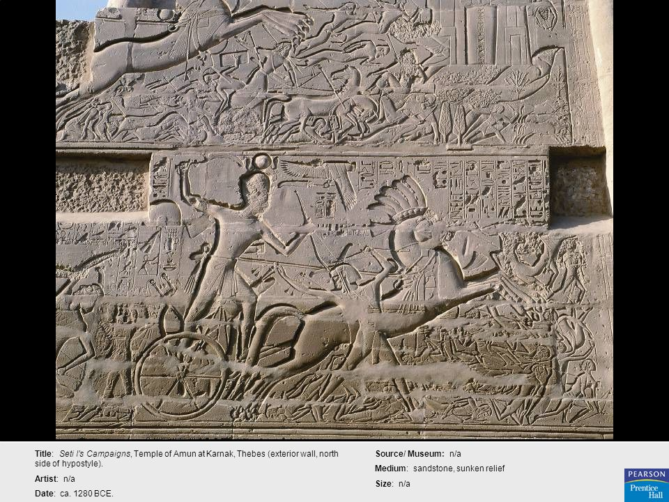 Title: Seti I s Campaigns, Temple of Amun at Karnak, Thebes (exterior wall, north side of hypostyle).