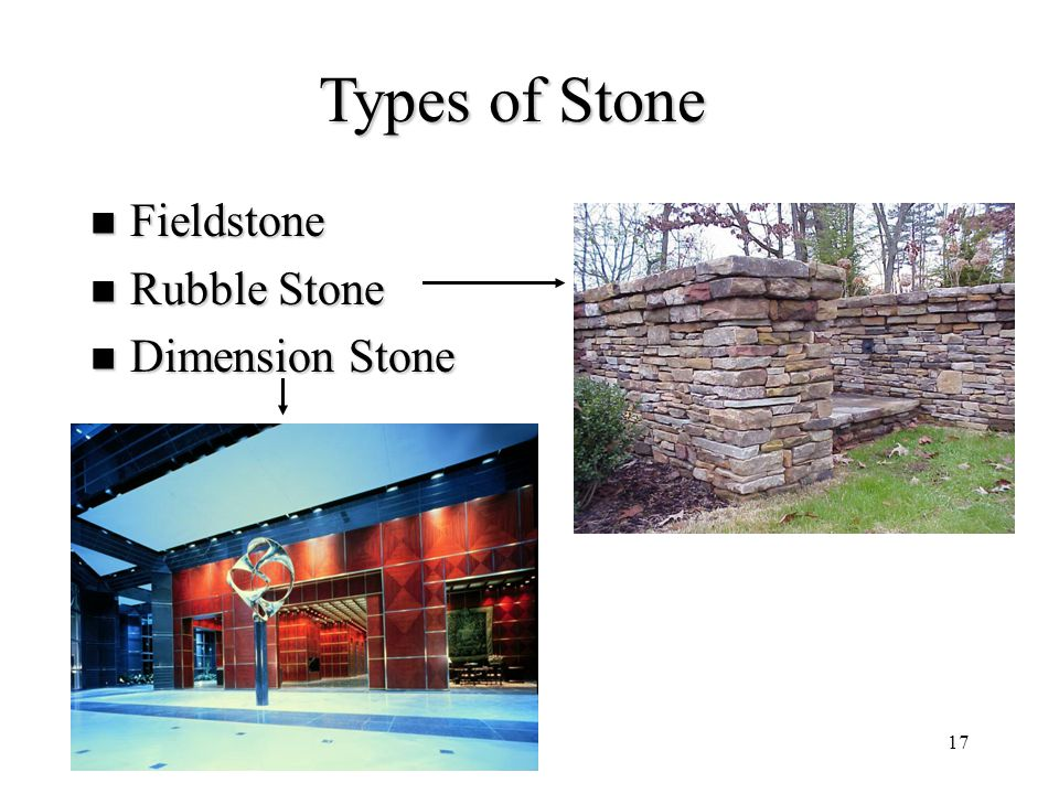 Types of Stone Fieldstone Rubble Stone Dimension Stone