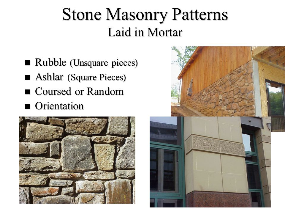 Stone Masonry Patterns Laid in Mortar