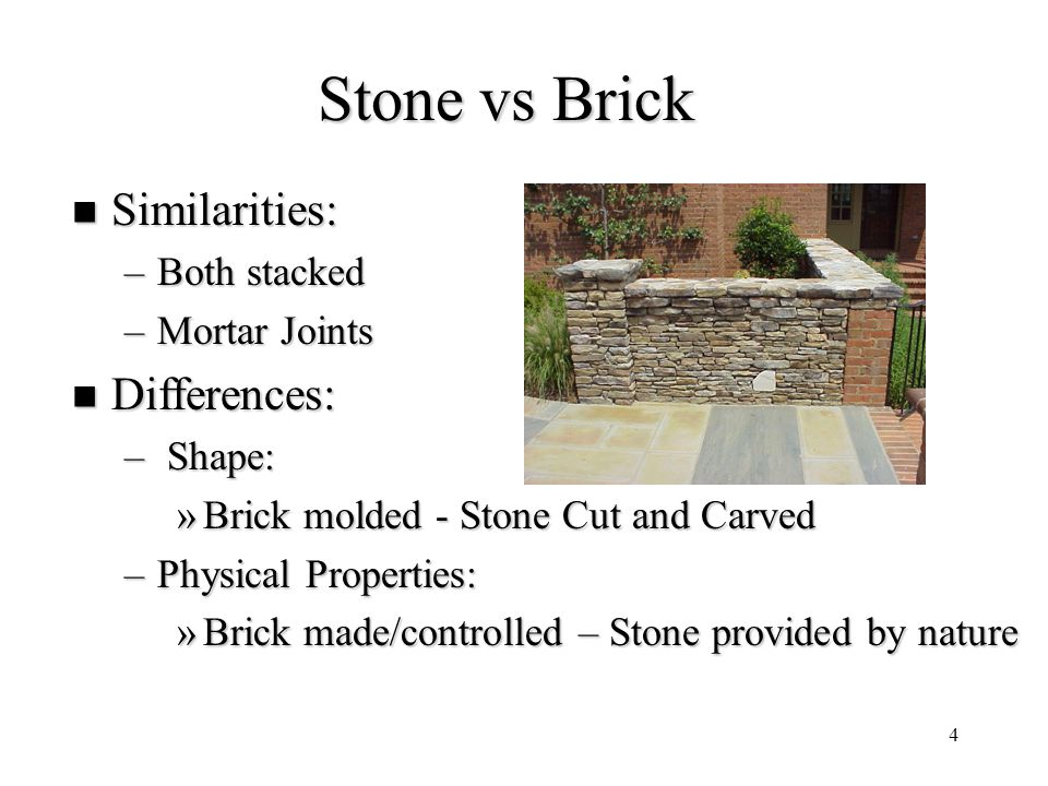 Stone vs Brick Similarities: Differences: Both stacked Mortar Joints
