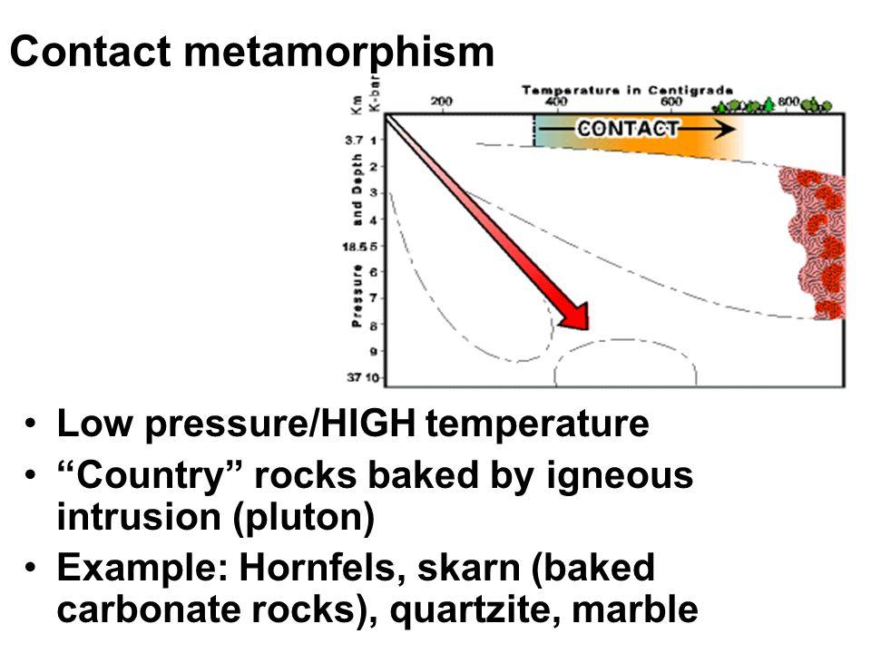 Contact metamorphism Low pressure/HIGH temperature