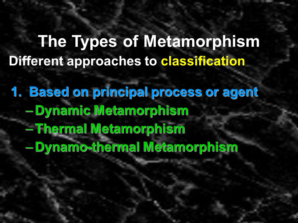 The Types of Metamorphism