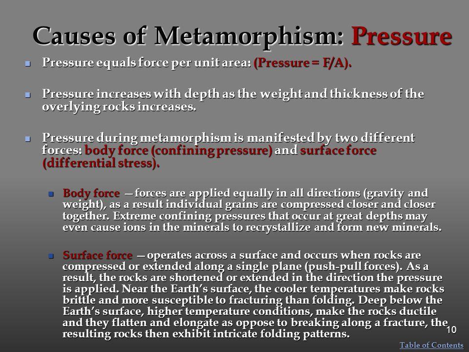 Causes of Metamorphism: Pressure