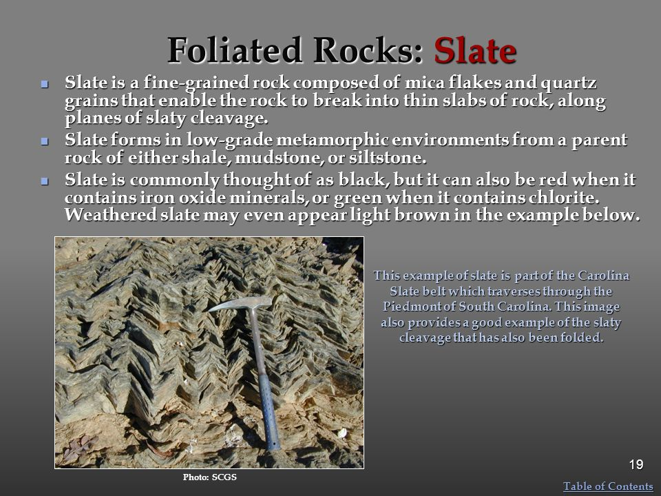 Foliated Rocks: Slate