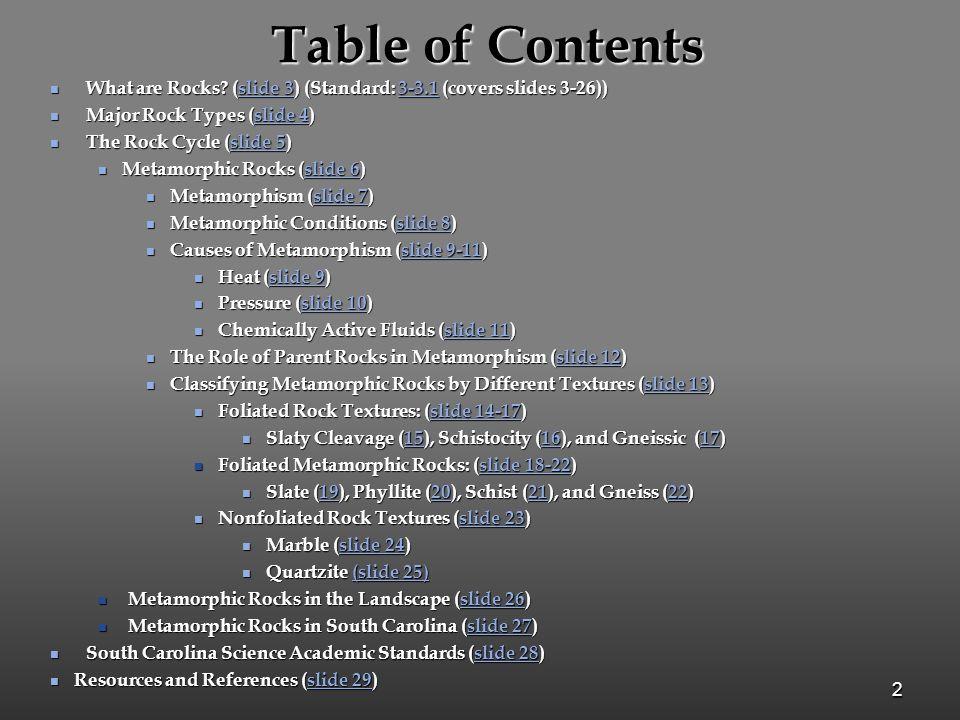 Table of Contents What are Rocks (slide 3) (Standard: 3-3.1 (covers slides 3-26)) Major Rock Types (slide 4)