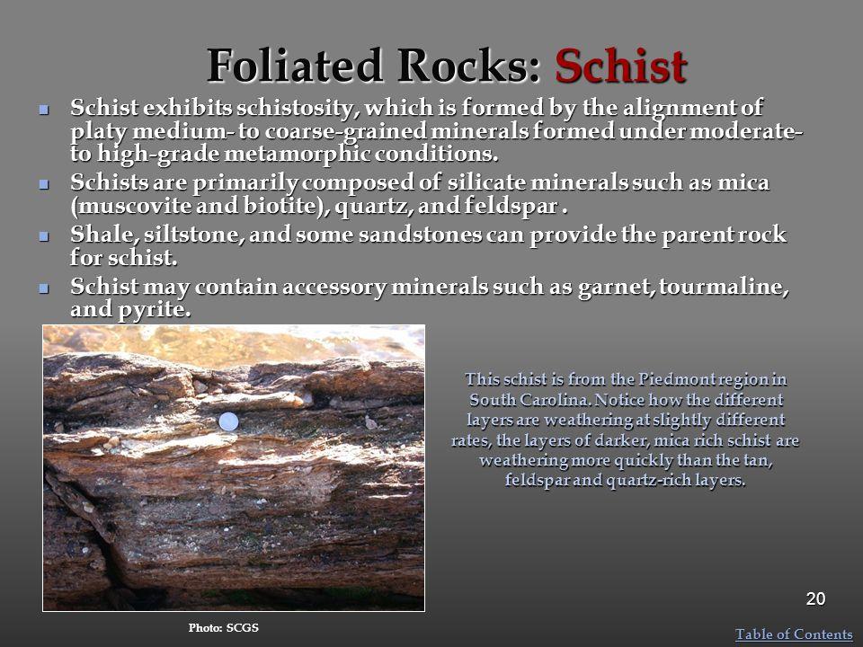 Foliated Rocks: Schist
