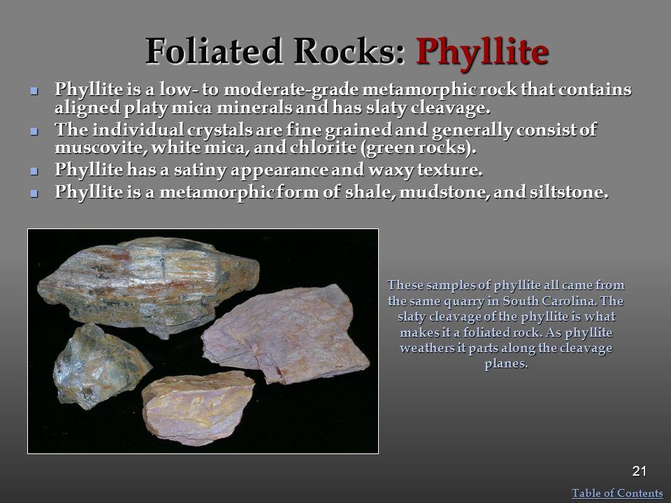 Foliated Rocks: Phyllite