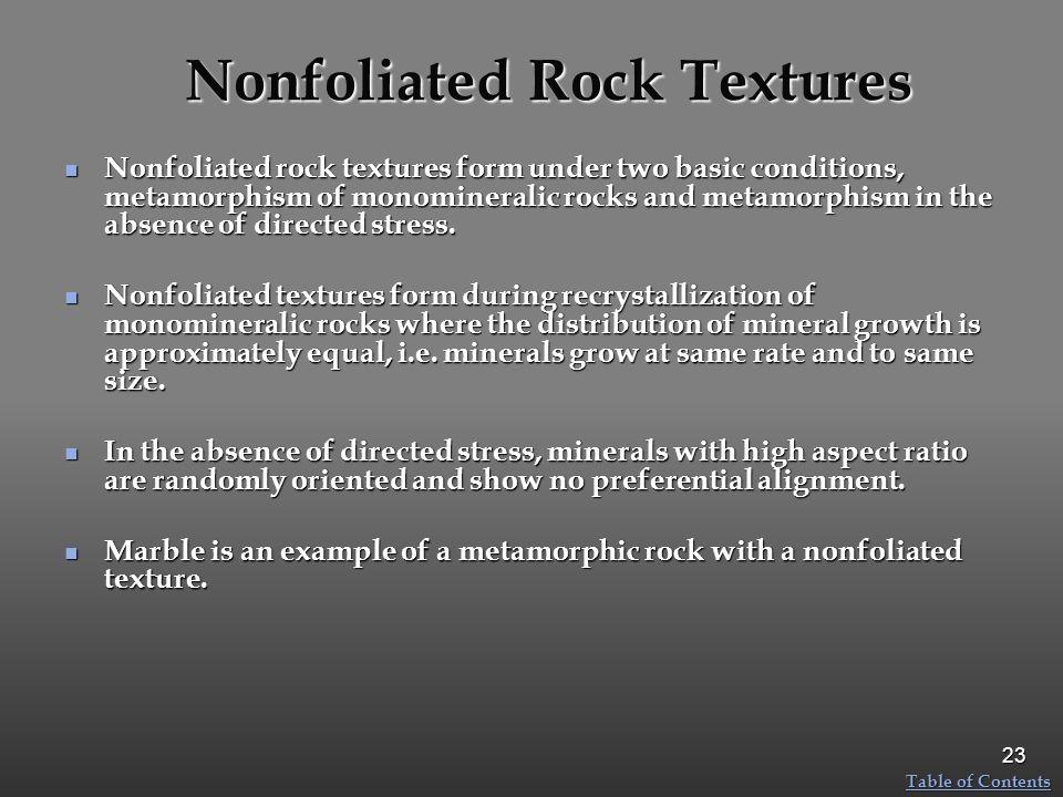 Nonfoliated Rock Textures