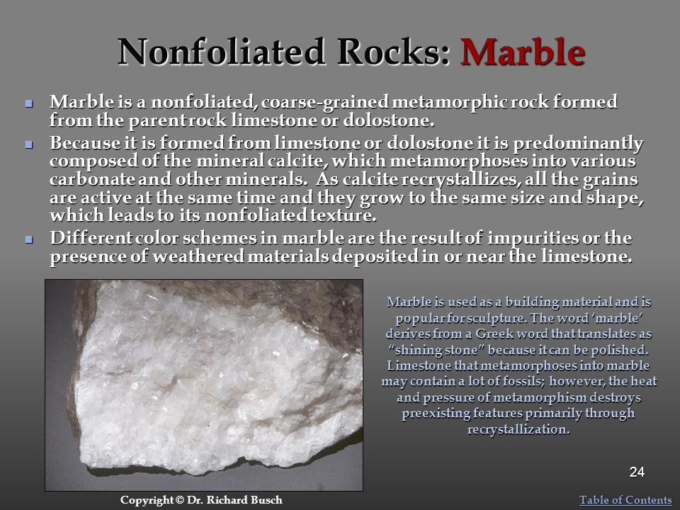 Nonfoliated Rocks: Marble