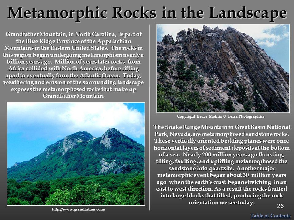 Metamorphic Rocks in the Landscape