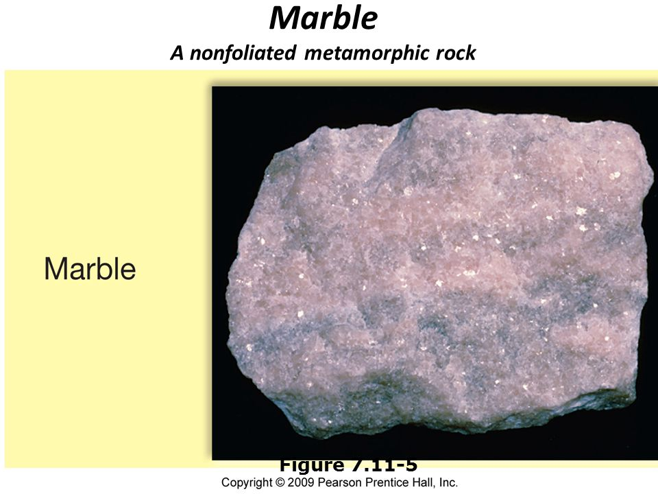 Marble A nonfoliated metamorphic rock