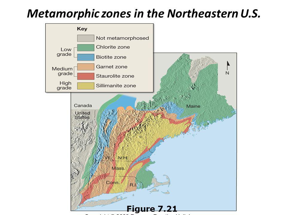 Metamorphic zones in the Northeastern U.S.