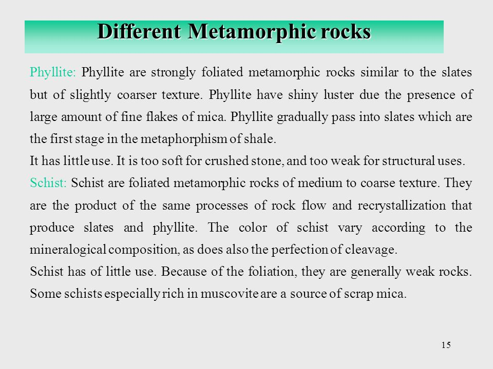 Different Metamorphic rocks
