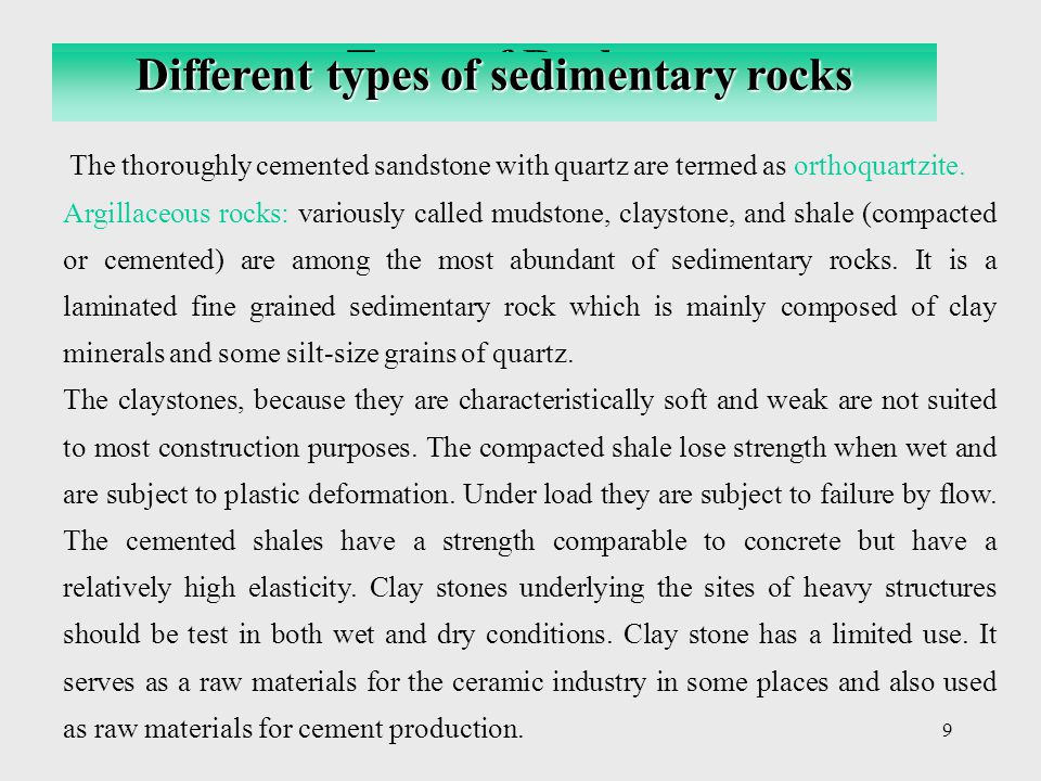 Different types of sedimentary rocks