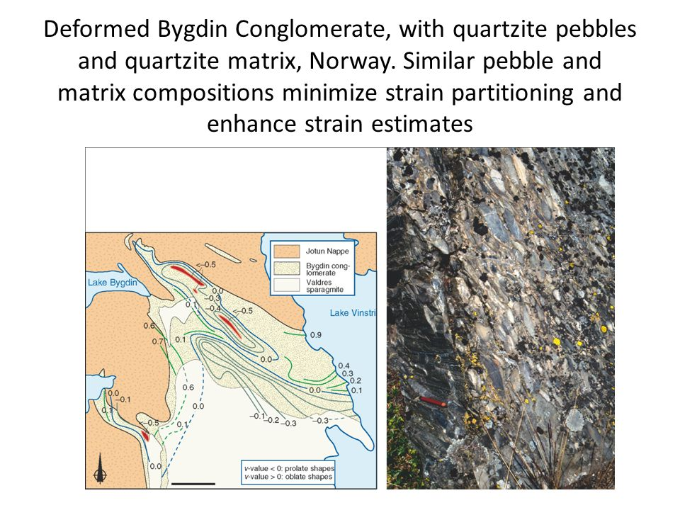 Deformed Bygdin Conglomerate, with quartzite pebbles and quartzite matrix, Norway.