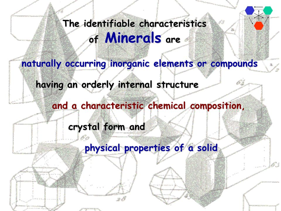 The identifiable characteristics of Minerals are