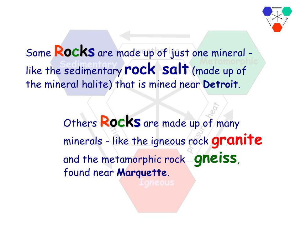 Some Rocks are made up of just one mineral - like the sedimentary rock salt (made up of the mineral halite) that is mined near Detroit.