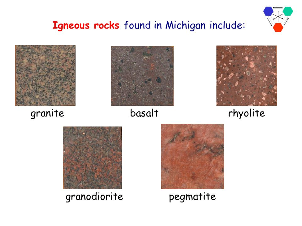 Igneous rocks found in Michigan include: