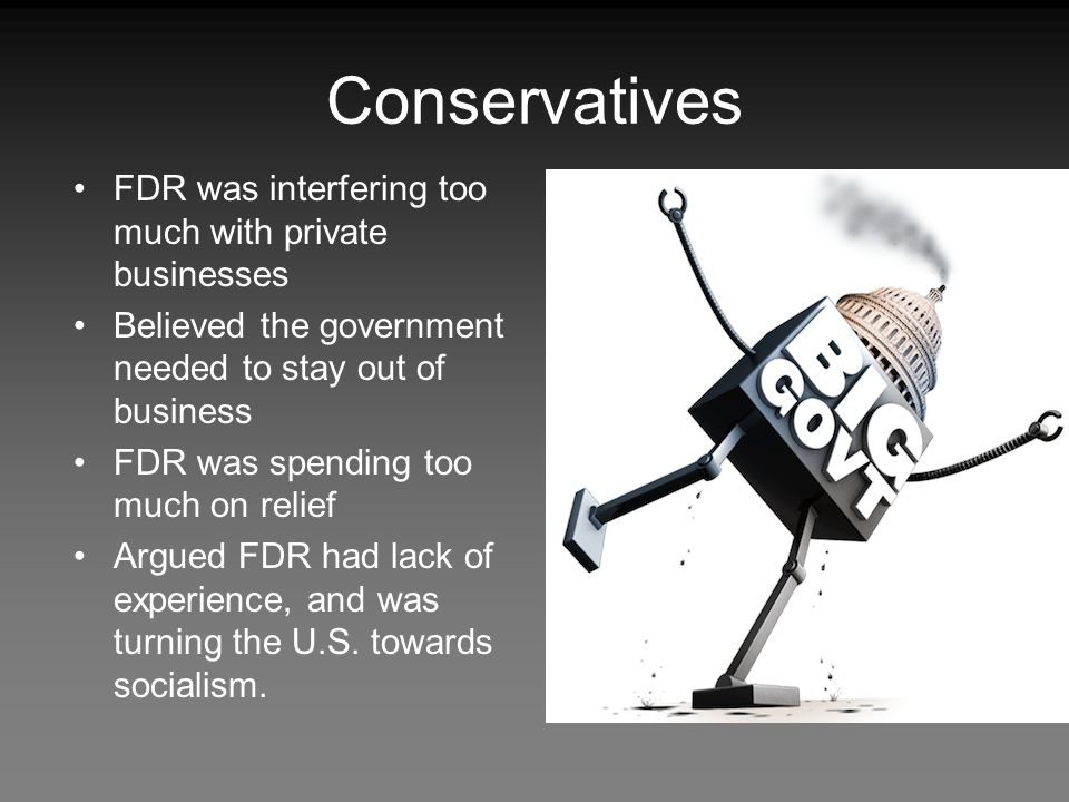 Conservatives FDR was interfering too much with private businesses