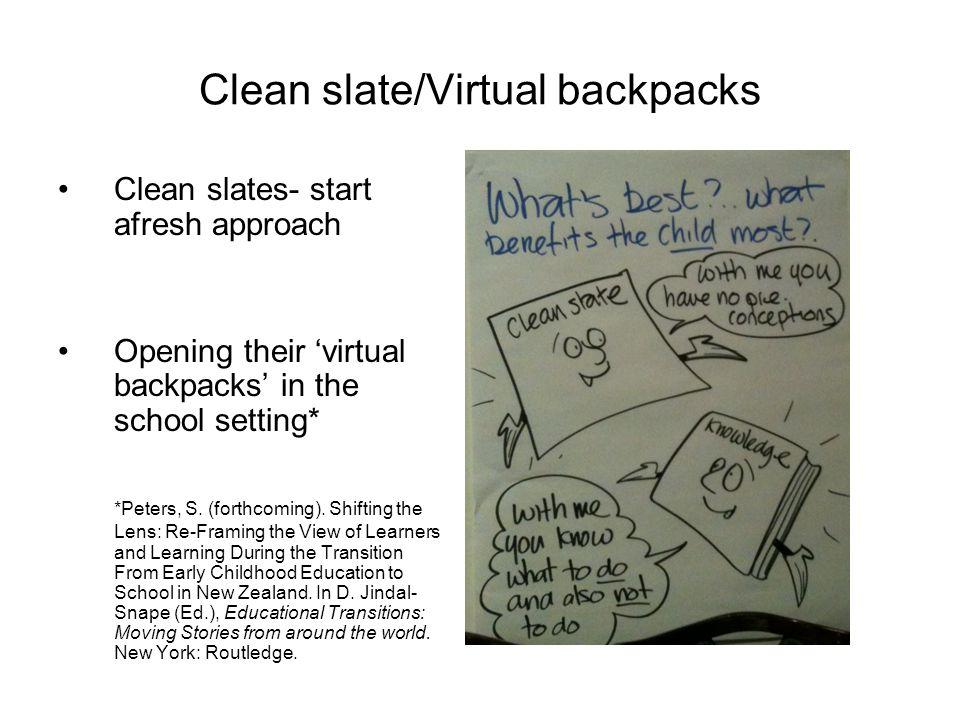 Clean slate/Virtual backpacks