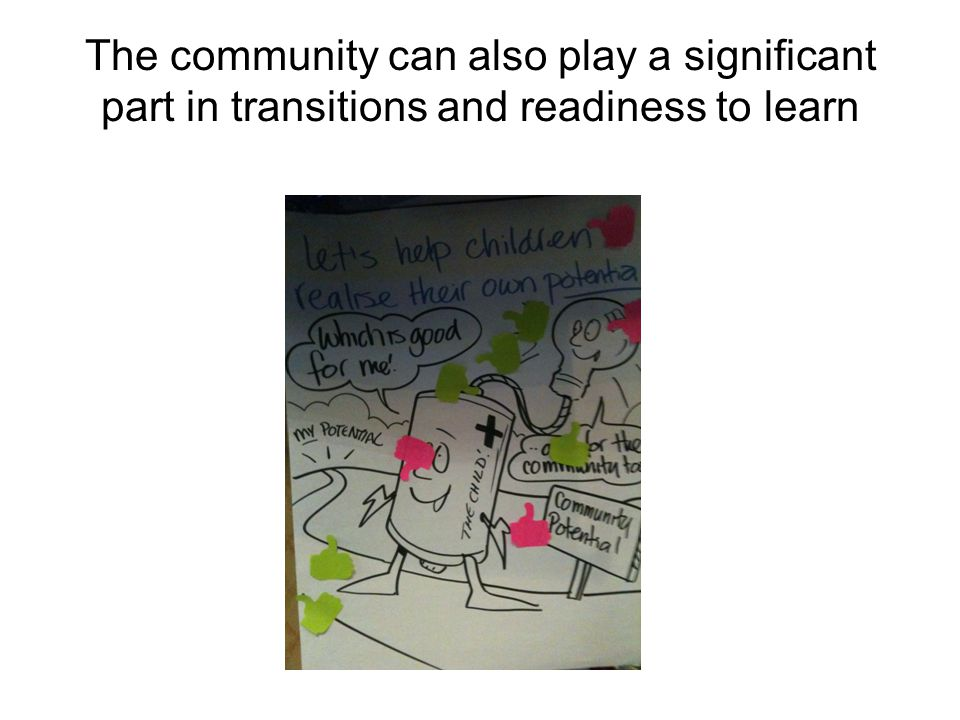 The community can also play a significant part in transitions and readiness to learn