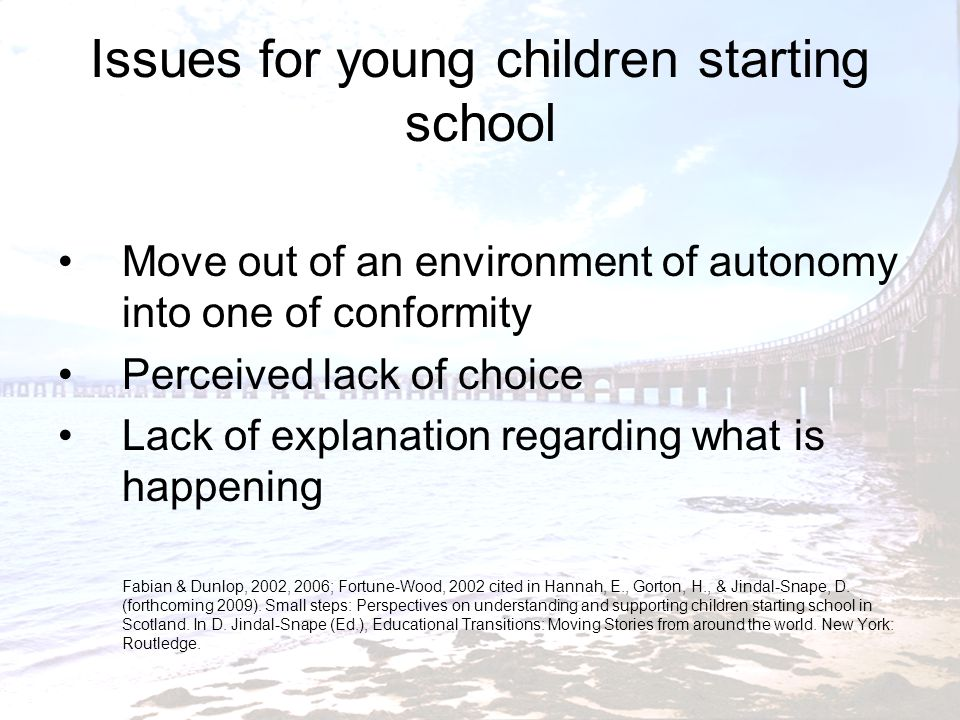 Issues for young children starting school