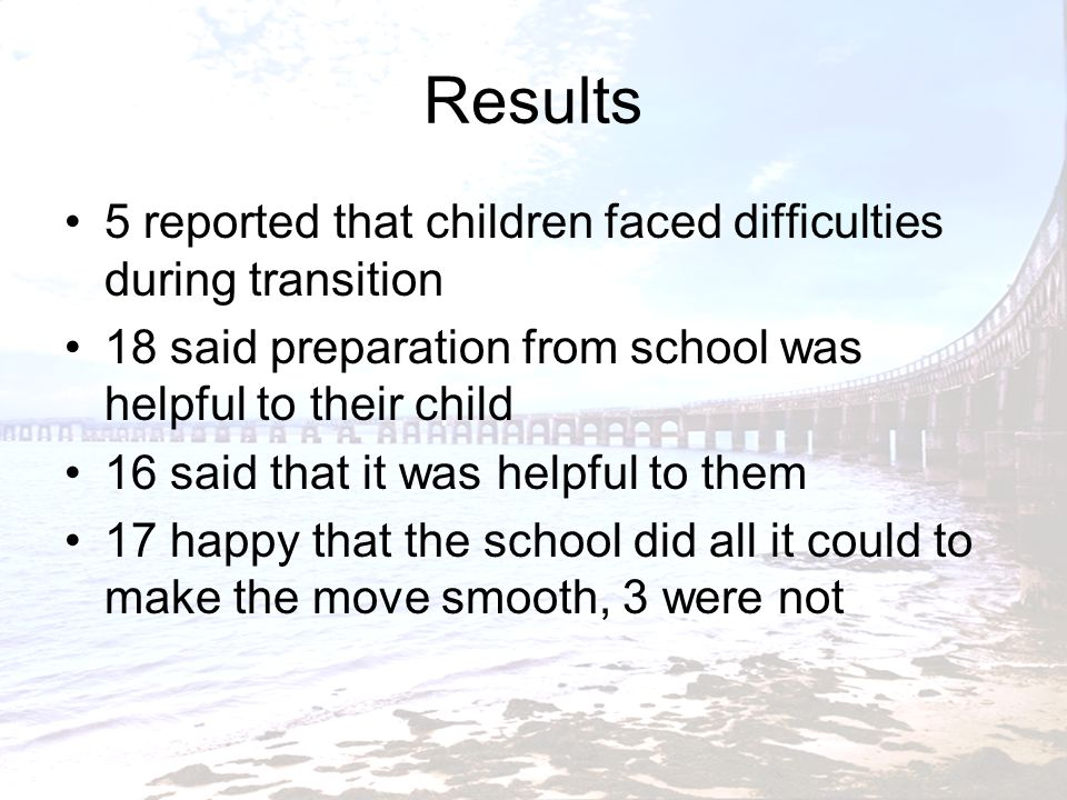 Results 5 reported that children faced difficulties during transition