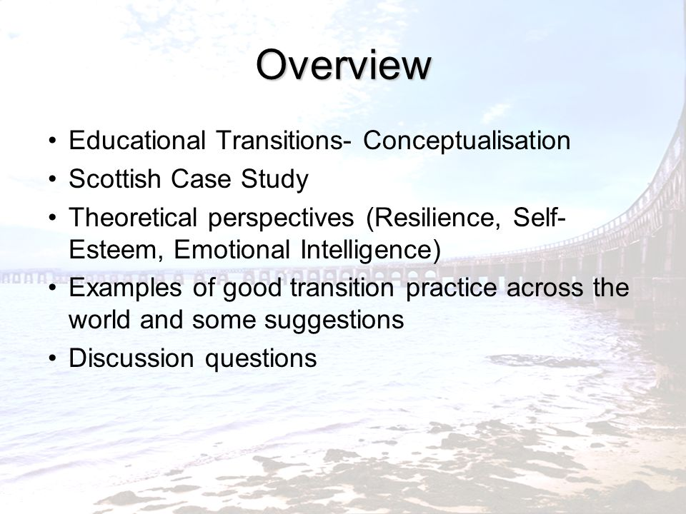 Overview Educational Transitions- Conceptualisation