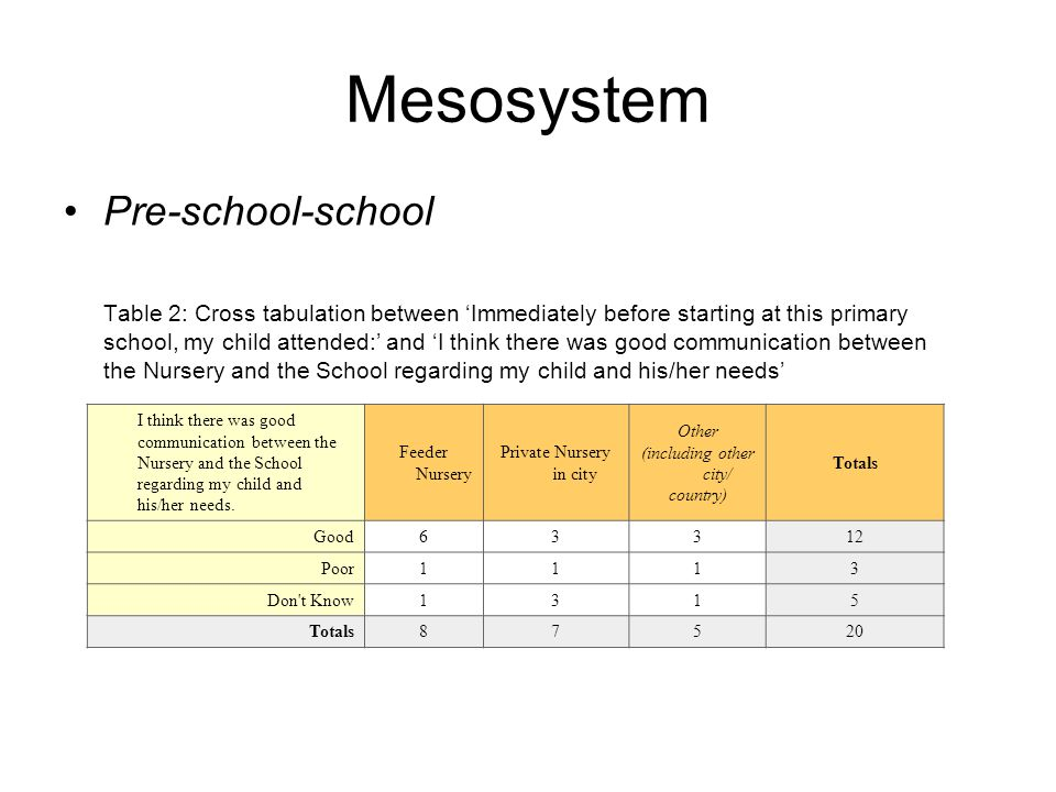 Mesosystem Pre-school-school