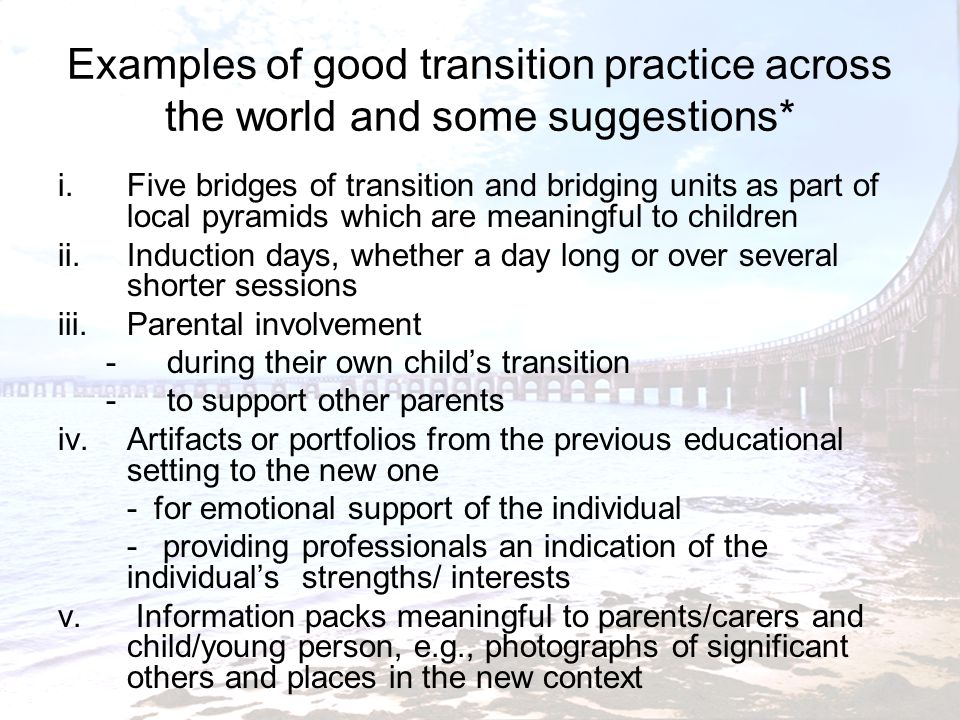 Examples of good transition practice across the world and some suggestions*