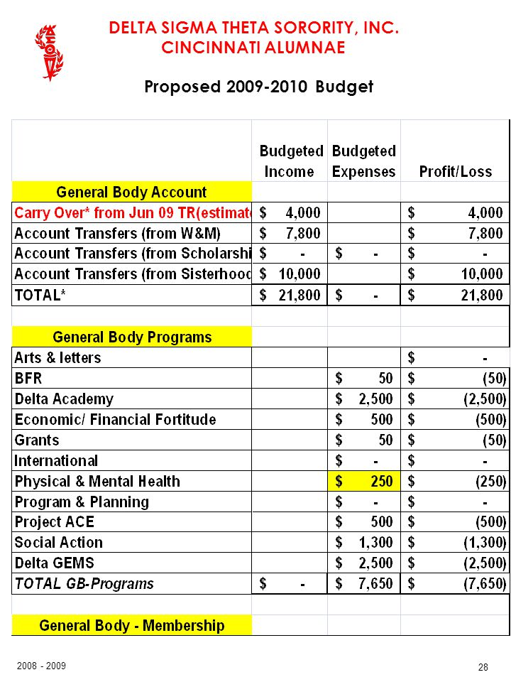 Proposed 2009-2010 Budget 28 28