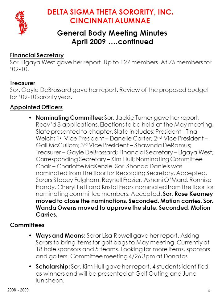 General Body Meeting Minutes April 2009 ….continued