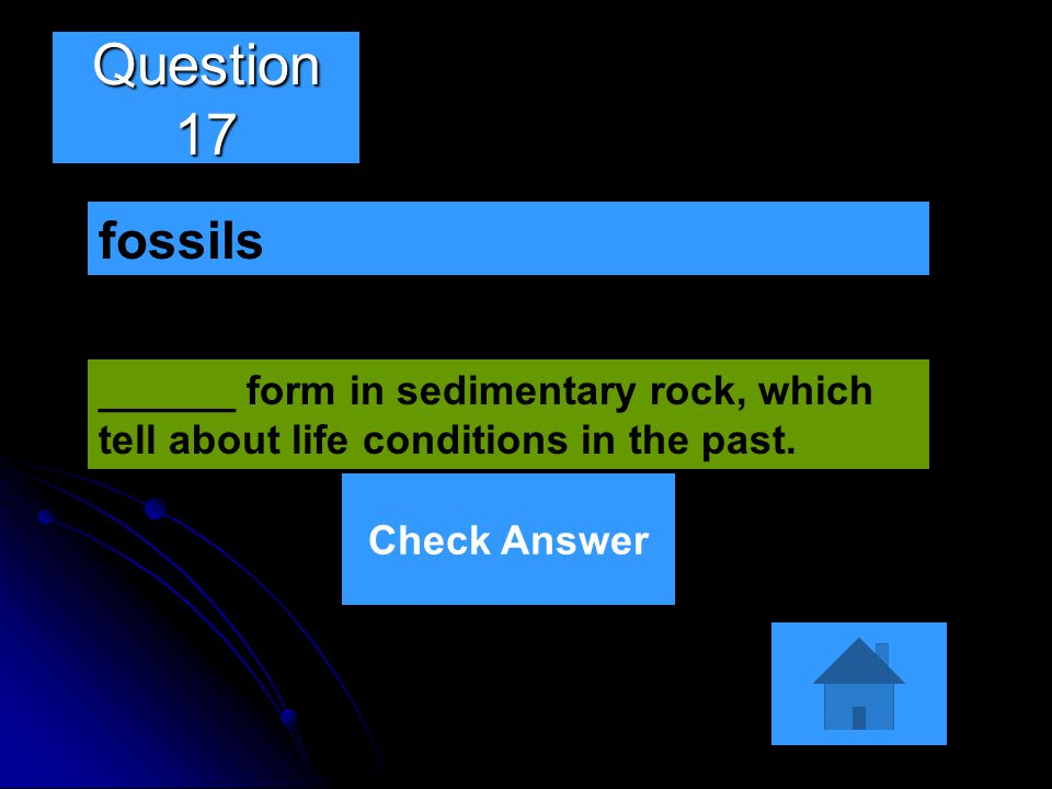 Question 17 fossils. ______ form in sedimentary rock, which tell about life conditions in the past.