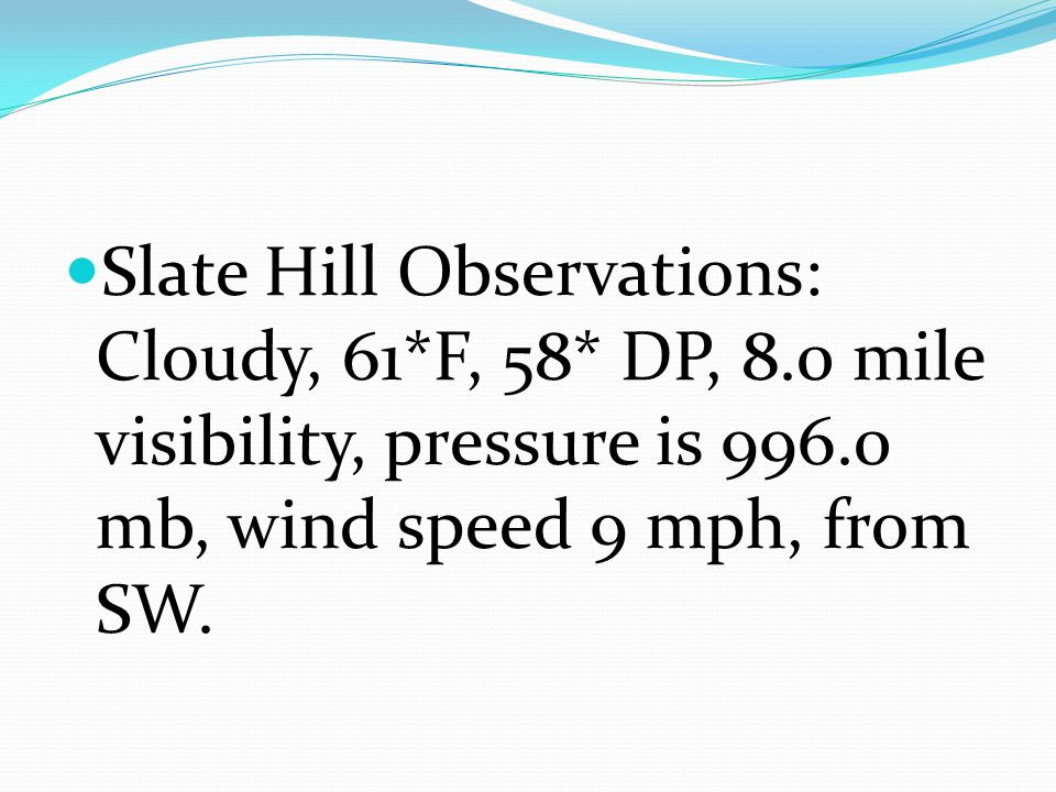 Slate Hill Observations: Cloudy, 61. F, 58. DP, 8