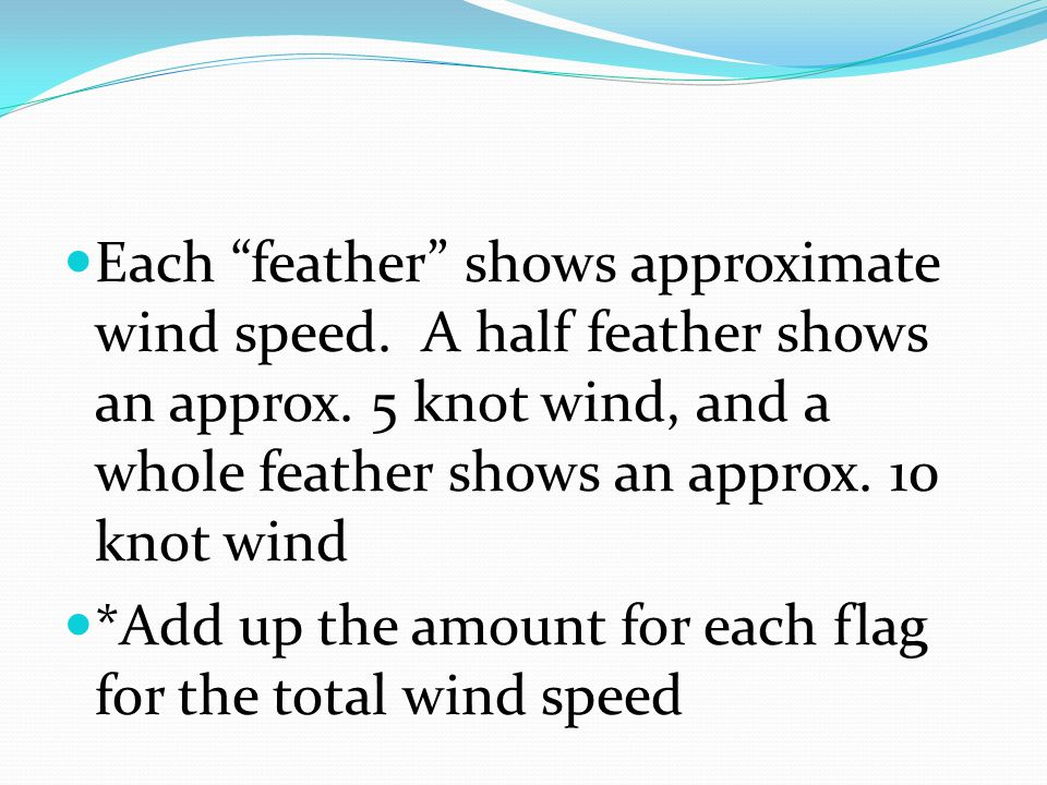 Each feather shows approximate wind speed