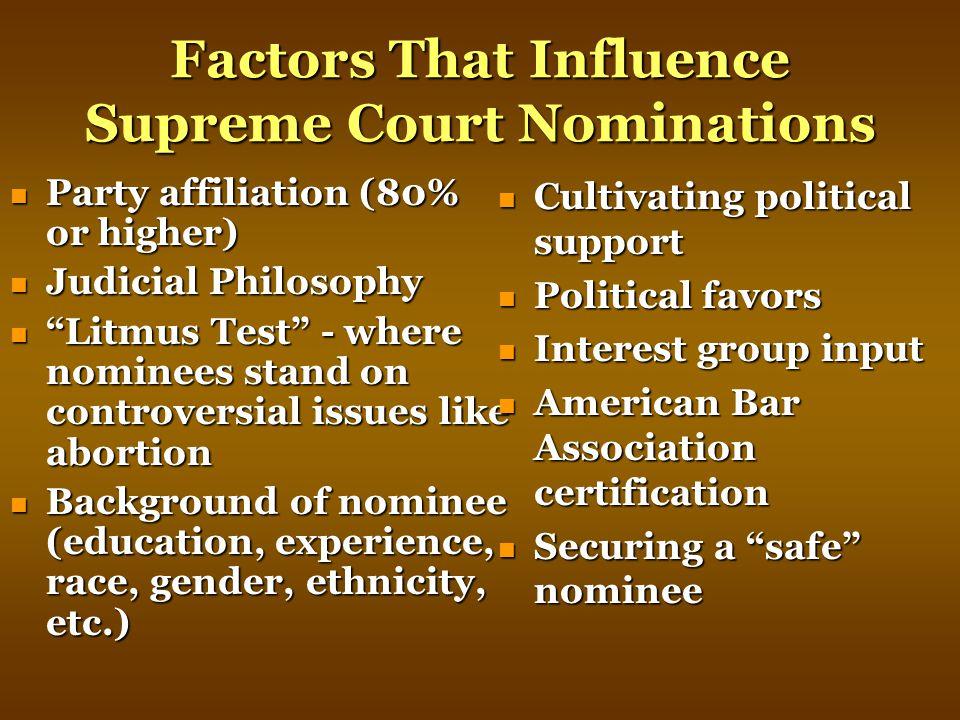 Factors That Influence Supreme Court Nominations