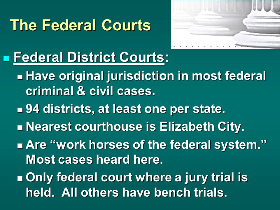 The Federal Courts Federal District Courts: