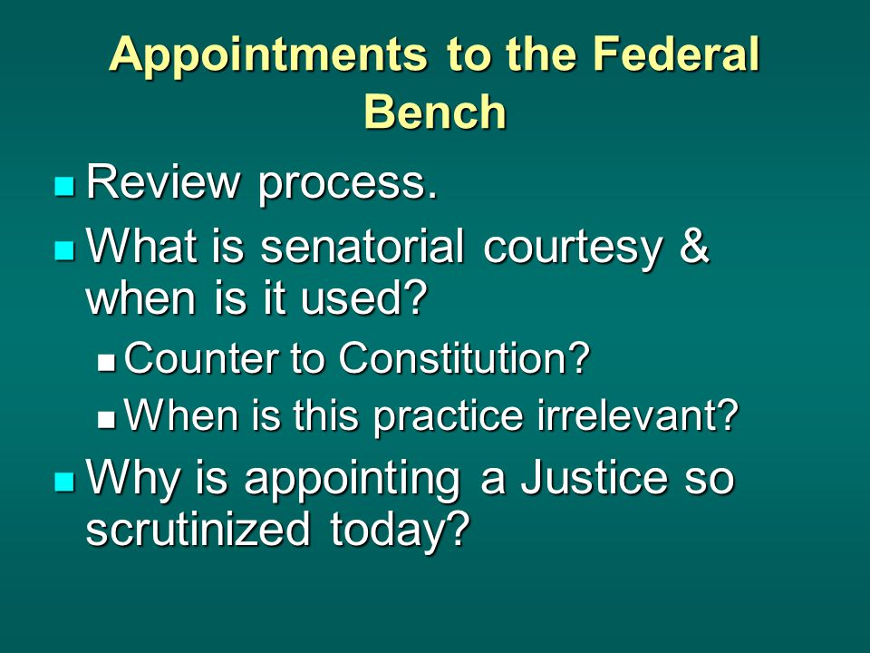 Appointments to the Federal Bench