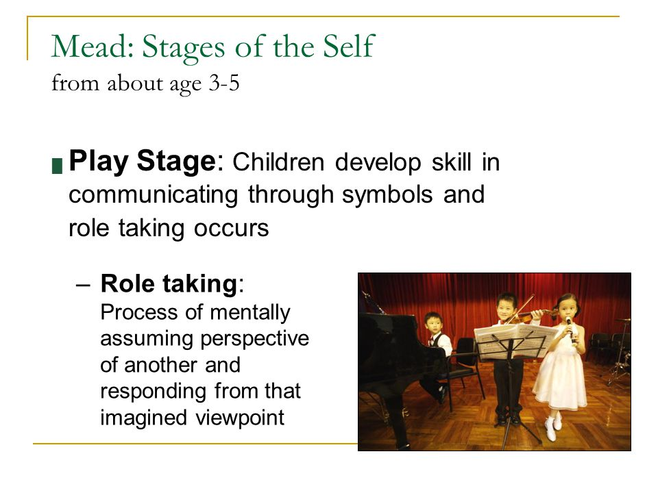 Mead: Stages of the Self from about age 3-5