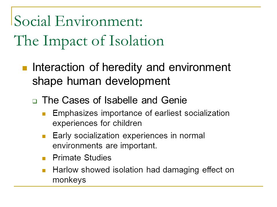 Social Environment: The Impact of Isolation