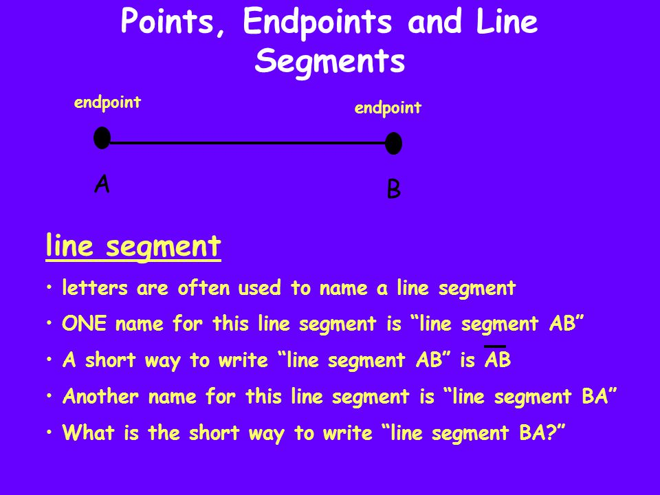 Points, Endpoints and Line Segments