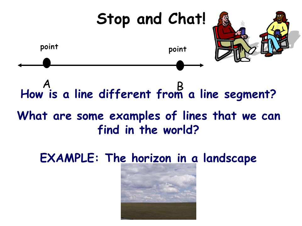 Stop and Chat! A B How is a line different from a line segment