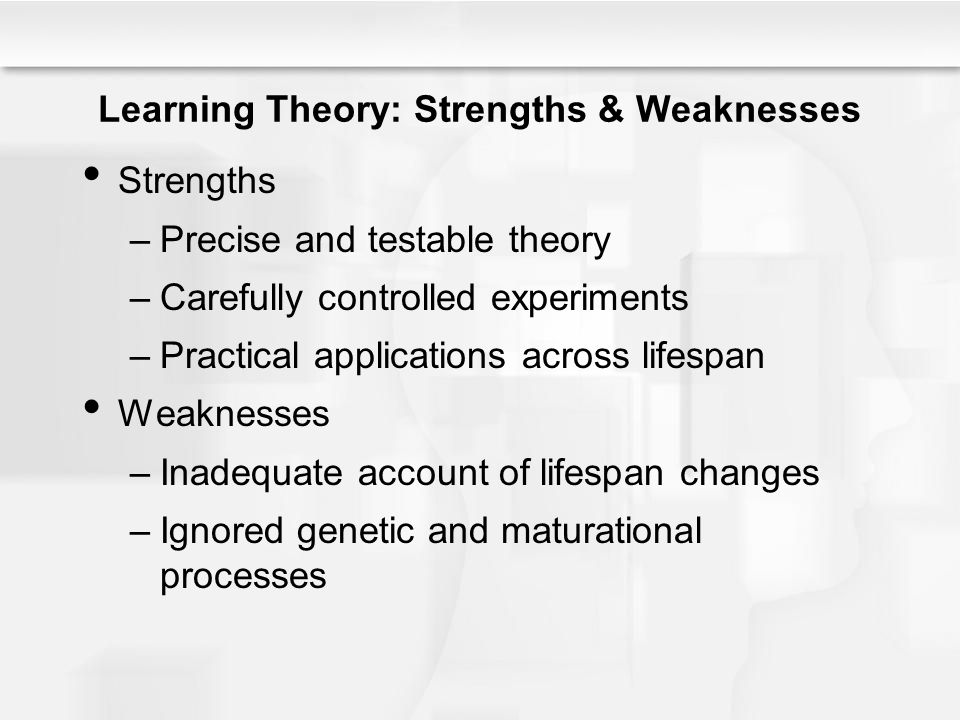 strengths and weaknesses of cognitive theory The biggest strength of behaviorism as it relates to social learning and social cognitive theory is that real world examples can be applied and can be quickly and easily administered however, the social learning theory cannot account for all development behavior since thoughts and.